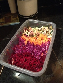 I pre-shred veggies that I'll quickly sauté for a healthy easy meal!
